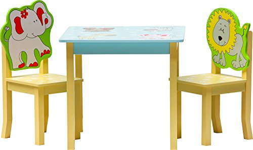 IB-Style - Meubles Enfants Safari | 3 Combinaisons |Set: 1 Table et 2 chaises Enfant - Chambre Enfant Meuble Enfant Mobilier Chaise d'enfant Baby