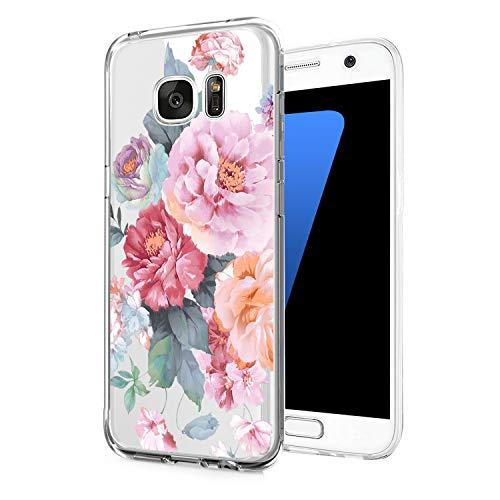 Jeack Hülle kompatibel mit Samsung Galaxy S7 Edge hülle, Floral Motiv Handyhülle Slim Silikon Cover Schutzhülle Dünn Durchsichtig Back Cover Transparent Bumper Case für Samsung Galaxy S7 Edge (1)