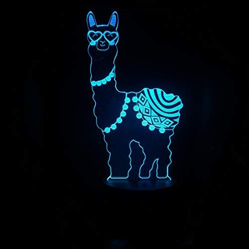 Lámpara De Ilusión Óptica 3D,Caballo De Barro De Hierba Animal Led Lámpara De Escritorio De La Luz De La Noche 7 Colores De Cambio Del Dormitorio Del Hogar Decoración Para Los Niños Regalo De Cumplea