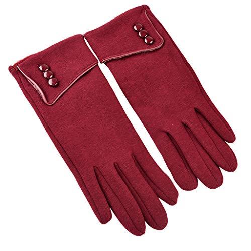 Sunnymi - Guantes de invierno para mujer, con forro suave rojo Talla única
