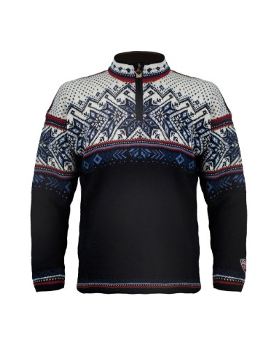 Dale of Norway Erwachsene Pullover Vail, Midnight Navy/Red Rose/Off White/Indige China Blue, L, 90331-C