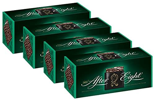 Nestlé AFTER EIGHT, hauchdünne Schoko-Täfelchen mit Pfefferminz-Cremefüllung, raffiniertes Schokoladen-Geschenk für Genießer, Menge: 4er Pack (4 x 200 g)