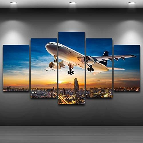Canvas schilderij decoratie, Modulaire Pictures HD Print Olieverfschilderij Wall Art 5 Panel Vliegtuig Zonsonderganglandschap Poster Living Room Decor van het Huis