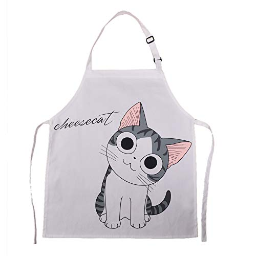 HOMCOS Kids Aprons Cartoon Cat Print Pattern Apron with Adjustable Neck Strap Child Chef Aprons for Boys and Girls (2-5 Year Old)