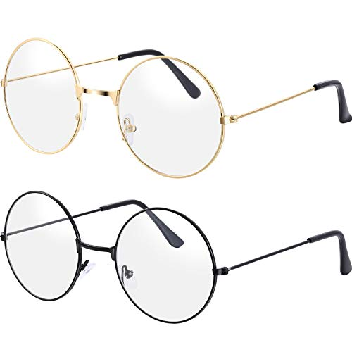 Bememo 2 Pairs of Wizard Glasses Round Wire Costume Glasses Accessories for Dressing Up (Gold and Black)
