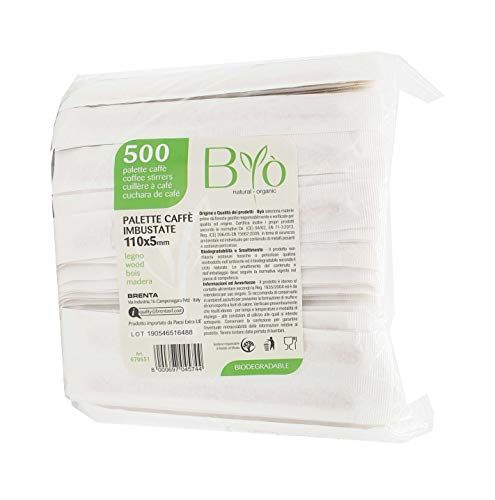 Bio - 500 paletinas de madera ensobradas para café, compostables, 11 x 0,5 cm, desechables, biodegradables, EN13432, con envoltorio