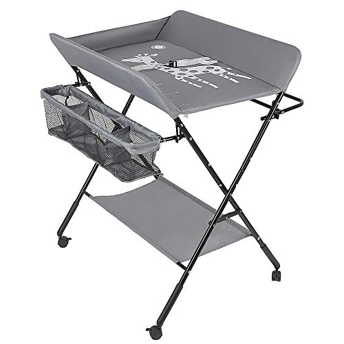 Baby Wickelkombi - klappbare Wickelkommode, mobiler Wickeltisch mit Wickelauflage, Sicherheitsgurt und Ablagefächern, platzsparend & stabil (Grau)