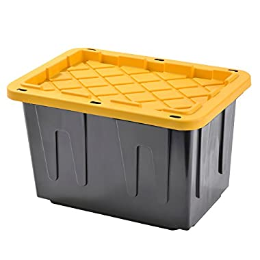 Plastic Heavy Duty Storage Tote Box, 23 Gallon, Black With Yellow Lid, Stackable,4-PACK