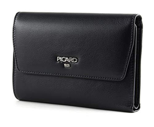 Picard, Damen Geldbörse aus sportlichem Leder, in der Farbe Schwarz, aus der Serie Bingo, mit Überschlag, 8881342023, Ozean