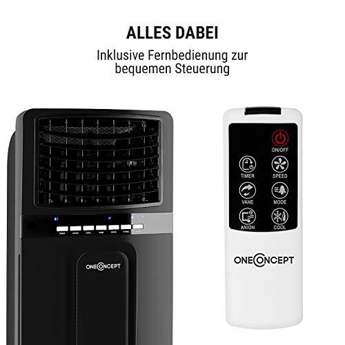oneConcept Baltic Black 3-in-1 - Luftkühler, 3-in-1: Luftkühler/Ventilator/Luftbefeuchter, 65 Watt, Luftumwälzung: 360 m³/h, Tank: 6 Liter, 2 Kühlakkus, horizontale Oszillation, Fernbedienung, schwarz