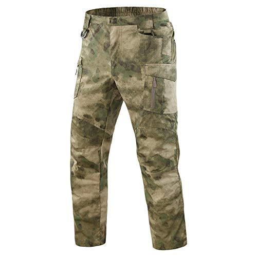SHYSBV Pantalon de randonnée Pantalon Homme Pantalon Imperméable À Séchage Rapide Pantalon De Randonnée Militaire Pantalon Cargo Multi-Poches Pantalon Camouflage-ATAC FG_L