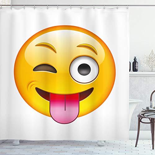 ABAKUHAUS Emoticon Duschvorhang, Sarkastischer Smiley Ausgestreckter Zunge Modernes Digitale Lustiges Druck, Wasser & Blickdicht aus Stoff mit 12 Ringen Bakterie Resistent, 175 x 200 cm, Mehrfarbig