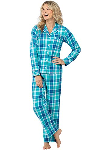 PajamaGram Womens Pajamas Soft Plaid - Flannel Pajama Sets, Turquoise, XL, 16