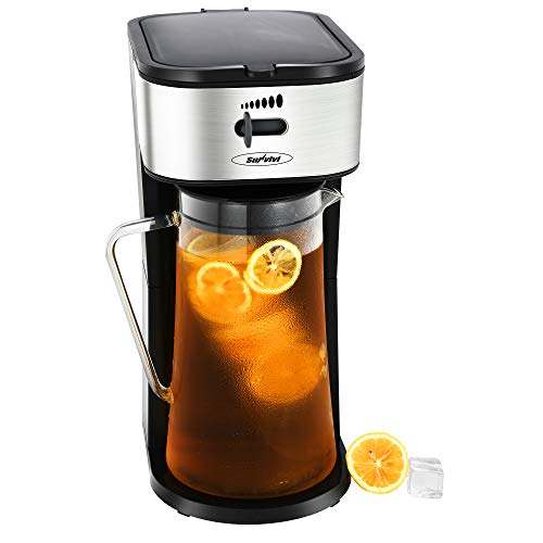 Iced Tea Maker and Iced Coffee Maker Brewing System with 88 Ounce Glass Pitcher, Includes an Infusion Tube to Customize the Flavor and Features Auto Shut-Off,Black