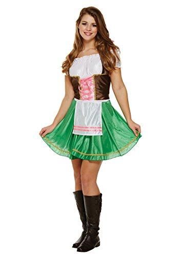 Emmas Kleiderschrank Oktober Mädchen-Kostüm - Enthält Adult Frauen Bavarian Abendkleid mit Schürze - Deutsches Bier-Mädchen-Kostüm für Hen Parties - (Women: 36, Green)