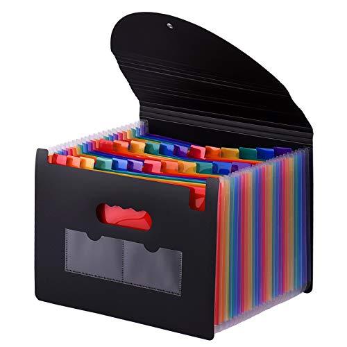 Zwbfu Carpeta De Acordeón,Carpeta de archivos expandible de 24 bolsillos con cubierta Organizador de archivos Accordian Organizador de documentos de tamaño carta A4 Color del arco