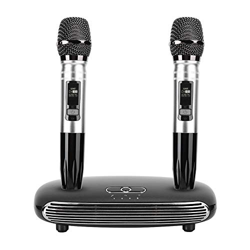 Goshyda Micrófono inalámbrico, K8 Un par de micrófonos de Karaoke de Mano, Sala de Estar en casa, TV, micrófono de Metal, Tarjeta de Sonido de Fibra óptica Bluetooth, para Fiestas de cumpleaño(Negro)