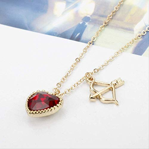 Yaoliangliang Collar de Cristal corazón T Collar Lindo Cupido S Forma de Flecha Collar para Mujeres Hombres Amantes Regalos