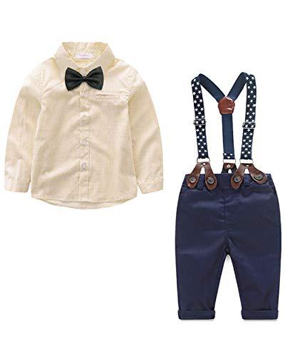 Yilaku Anzug Jungen Gentleman Hosenträger Hosen & Hemd mit Krawatte Bekleidung Set 4 Teiliges Baby Set(Beige, 2-3 Jahre)