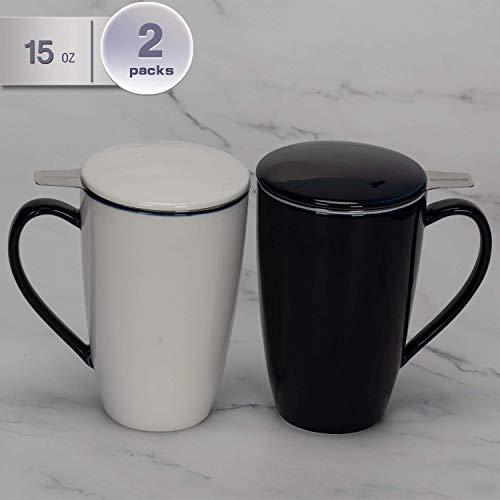 amHomel Porcelain Tea Mug With Infuser Basket and Lid for Steeping 15 OZ Cups, Mugs Set of 2 DarkBlue Color