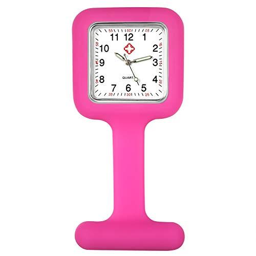 Lancardo Reloj Enfermera con Cubierta Silicona en Forma de Flor Reloj de Bolsillo Floral para Médico Reloj de Movimiento Cuarzo NO Impermeable