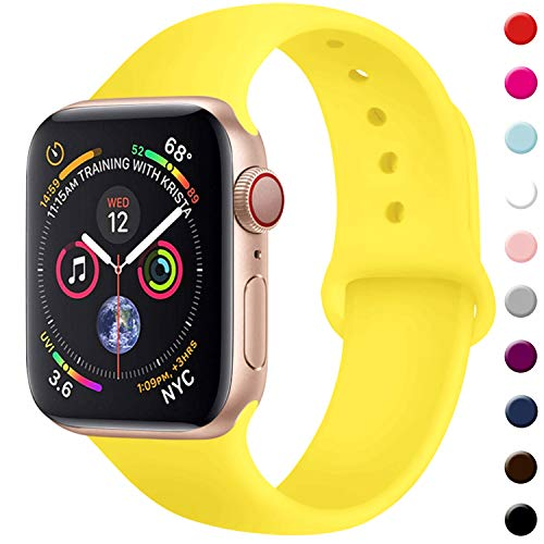 TIMTU Sport Bands Compatible with Apple Watch 42mm 44mm, Durable Silicone Strap Compatible with iwatch Series 4/3/2/1 for Women Men, S/M MGyellow
