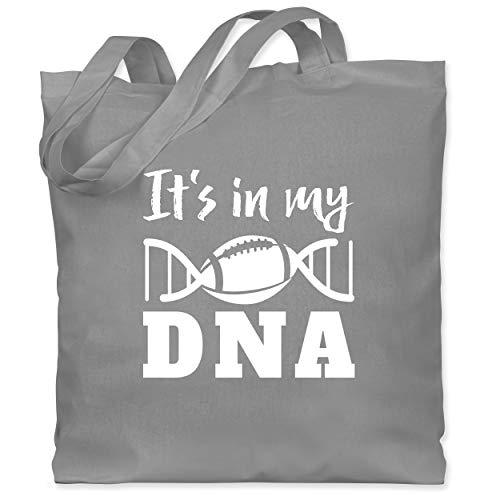 Shirtracer American Football - It\'s in my DNA mit Football - weiß - Unisize - Hellgrau - Spruch - WM101 - Stoffbeutel aus Baumwolle Jutebeutel lange Henkel