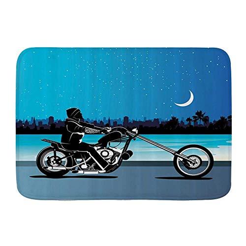Fußmatten, Motorrad Kunst mit Chopper Motorrad Biker Reiten unter Sternenhimmel Skyscape Silhouette, Küche Boden Bad Teppich Matte Saugfähig Innen Bad Dekor Fußmatte rutschfest