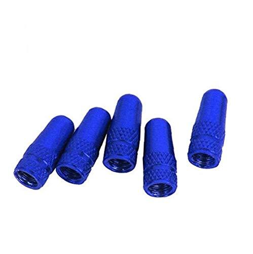 Bici neumático Stem Tapas de válvula de aleación de Aluminio de Bicicletas válvula de la Rueda Escudos Protectores contra el Polvo para Bicicletas Azul 5pcs Accesorios de Bicicleta