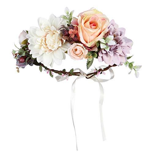 Folora, fascia per capelli regolabile con fiore, ghirlanda floreale, corona, copricapo con nastro, per cerimonie nuziali, feste, festival