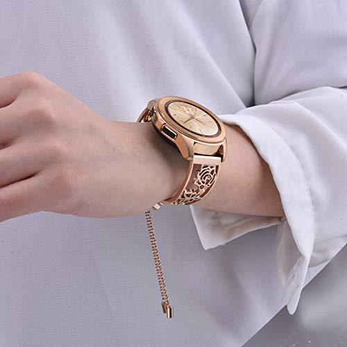 VIGOSS Für Samsung Galaxy Watch 42mm Armband/Galaxy Watch Active Armband Rose Gold Frauen, Metall Schmuck Edelstahl Armreif Uhrenarmband(Rose Gold(Schmuck))