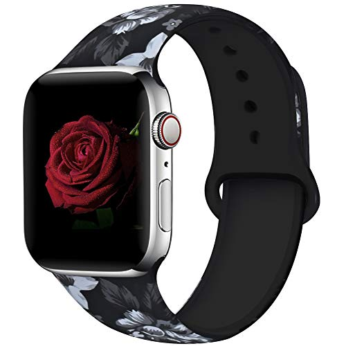 EXCHAR Compatible with Apple Watch Band 44mm 42mm Fadeless Pattern Printed Floral Bands Silicone Replacement Band for iWatch Series 4 Series 3/2/1 for Women Men S/M Flower J12