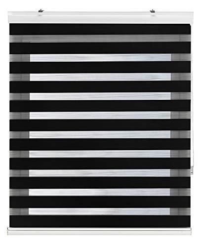 Zebra Textil Sansa Estor Enrollable Doble Tejido, Noche y día, Poliester, Negro, 105 x 250 cm