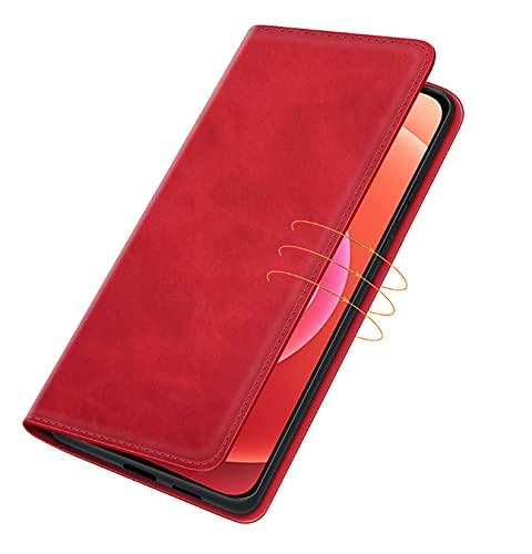 LONGSAND Compatible con Huawei P50 / P50 Pro Wallet Teléfono PU + TPU Funda Protectora a Prueba de Golpes con Ranuras de Tarjetas y Shell de Cuero de Cuero para Mujer para Mujer,Rojo,P50 Pro