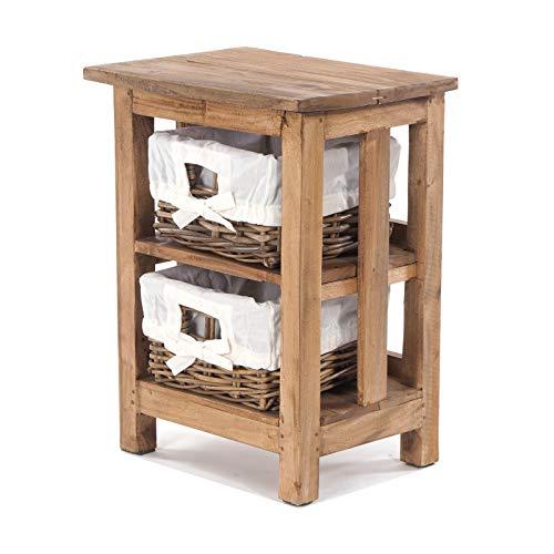 DESIGN DELIGHTS Holz BADSCHRÄNKCHEN MIT 2 Rattan KÖRBEN | beige, Recyclingholz Mahagoni, 51x38x29 cm (HxBxT) | Kommode