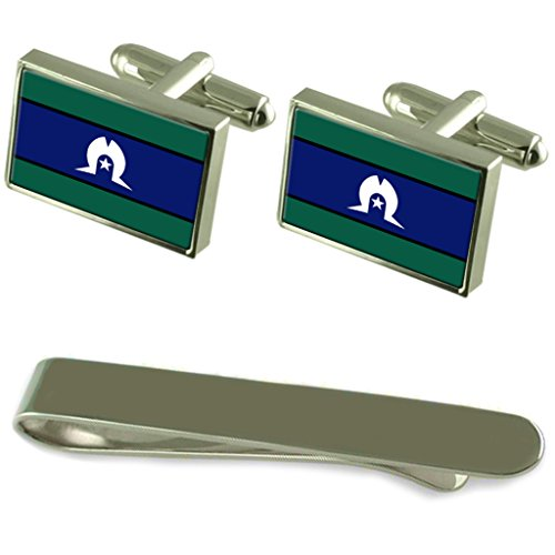 Select Gifts Torres Strait Islanders Flag Silver Cufflinks Tie Clip Engraved Gift Set