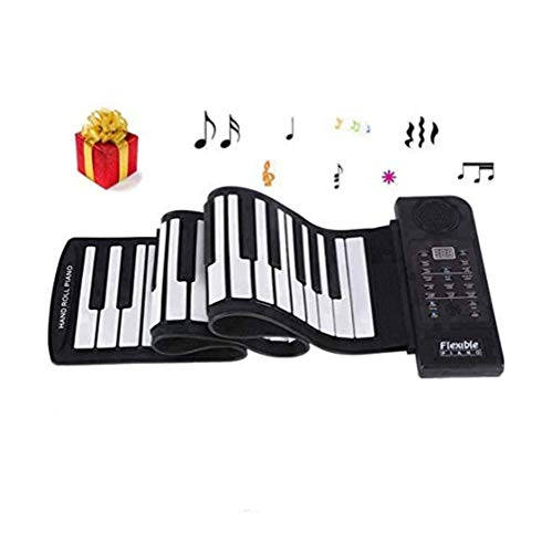 Electronic Piano Keyboard, Portable 61-Keys Roll Up Soft Silicone Flexible Piano, Electronic Piano Keyboard for Home Entertainment Music Practice
