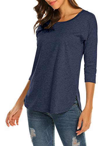 Sherosa Women's 3/4 Sleeve Shirts Casual Loose Tunic Tops, Side Slit T Shirt For Women (XL, Blue2)