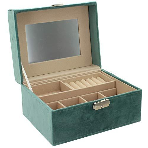 MIK funshopping Schmuckkasten aus Samt Jewelry Box 21 x 16 x 10,5 cm türkis