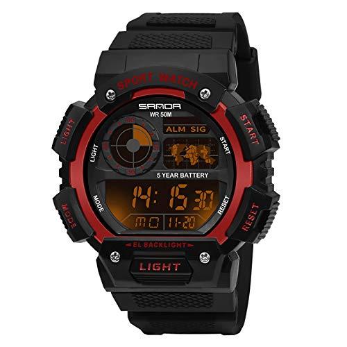 GUOJIAYI Reloj impermeable 50m brújula reloj hombre led cuarzo reloj deportivo reloj reloj cronógrafo reloj hombre