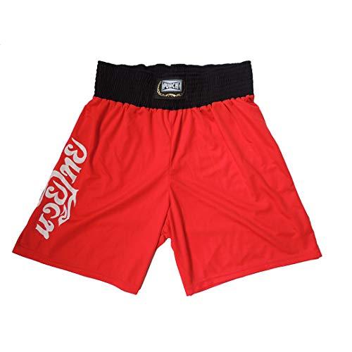 Punch Silk Shorts Muay Thai, Unissex, Vermelho/Branco, G
