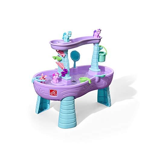 Step2 Rain Showers Wasserspieltisch Einhorn / Unicorn | Großer Wassertisch mit 13-teiligem Zubehörset | Garten Wasser Spieltisch für Kinder in Violett und Blau