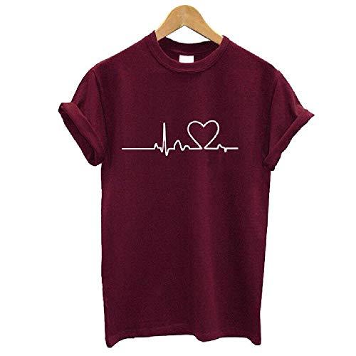 Camisetas de Mujer Casual Love Impreso Tops Verano Mujer Cam