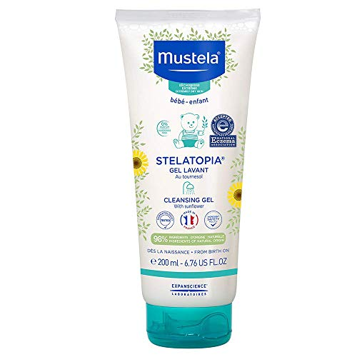 Mustela Stelatopia Cleansing Gel - Baby Cleanser Face & Body Wash - For Eczema-Prone Skin - with Natural Avocado - Tear Free