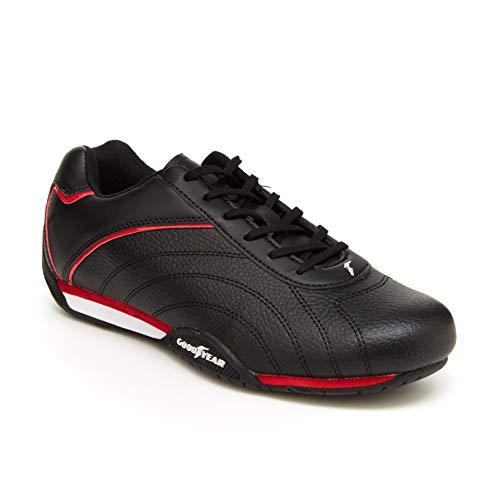 Goodyear Ori Racer Herren Sneaker – Low-Top Sneakers, PU-Leder & Mesh-Futter, schwarz/red, 40 EU