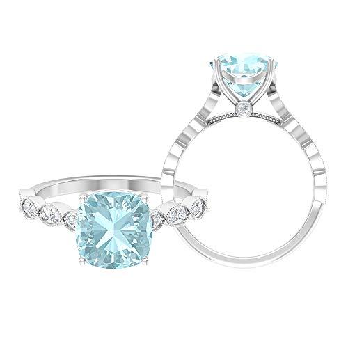 Anillo de topacio azul cielo de 8,5 mm, D-VSSI, anillo de compromiso de corte cojín, anillo de compromiso, anillo solitario con piedra lateral, 14K Oro blanco, Size:EU 56