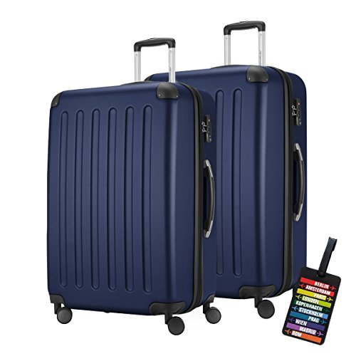 Hauptstadtkoffer - Spree - Koffer-Set (2xXL) Trolley-Set Rollkoffer Reisekoffer-Set Erweiterbar, TSA, 4 Rollen, Dunkelblau inkl. Design Kofferanhänger