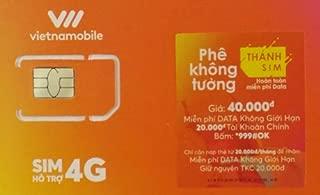 【お急ぎ便】Vietnamobile ベトナムプリペイドSIM 4G・3G 30日利用 データ容量120GB