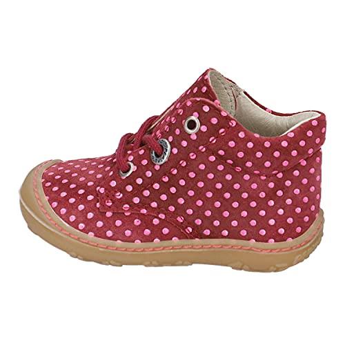 RICOSTA Mädchen Boots Happy von Pepino, Weite: Mittel (WMS),schnürstiefel,Booties,Leder,Kids,Kinderschuhe,Barolo (374),18 EU / 2 Child UK