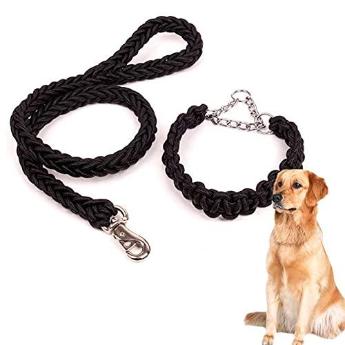 DealMux Correa para perros Correa para perros pequeños Correa para perros Cómodas correas para perros Correa fuerte antideslizante Correa para perros manos libres Correa para perros grandes Negro, M